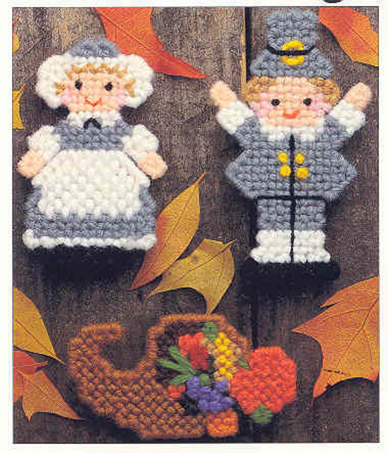 Thanksgiving Magnets  /& Shamrock Coasters  ~  Plastic Canvas Patterns from Leisure Arts