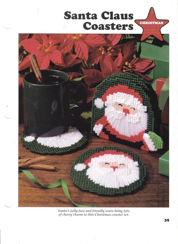 Plastic Canvas Christmas Coaster Patterns.Santa Claus Coasters Plastic Canvas Pattern Leisure Arts Pattern