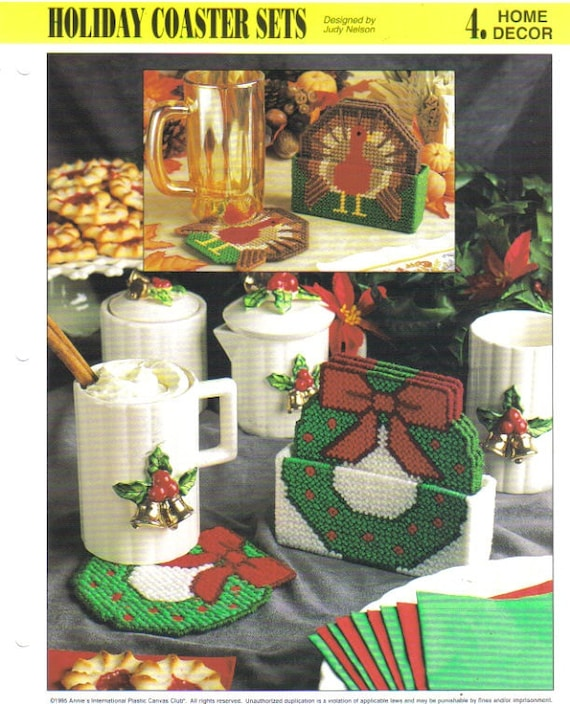 Holiday Character Coaster Sets Annie/'s plastic canvas pattern booklet NEW