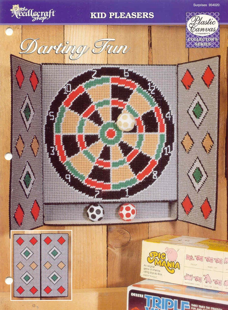 Darting Fun Dart Board and Right on Cue Pool Table ~ plastic canvas patterns