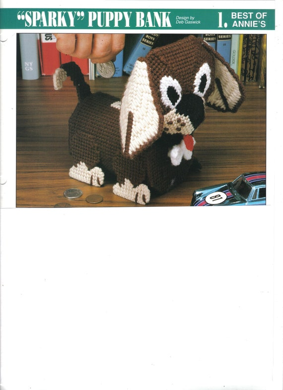 Sparky Puppy Bank ~  plastic canvas pattern