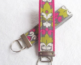 Wristlet Key Fob Key Chain in Hannah Damask - Your choice of Fuschia or Gray webbing