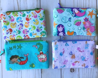 """Mini Zipper Case - Mermaids  - Cotton zipper case 3.5"""" x 5.5"""" with 4"""" zipper"""