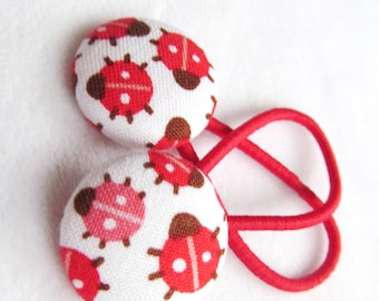 Ponytail holders - Bitty Ladybugs - Pony tail holders - fabric covered button hair ties