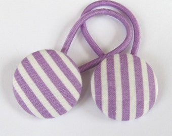Lavender Purple & White Stripes - Ponytail holders - fabric covered button hair ties