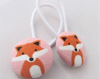 Fancy Foxes on Pink - Ponytail holders - fabric covered button hair ties
