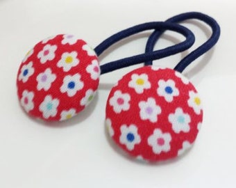 Bitty flowers on red - Ponytail holders - fabric covered button hair ties