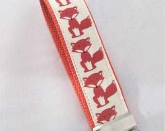 Fox KeyFob Key Chain Wristlet in Renaldo the Fox - Original Fabric Design - Fabric Keychain