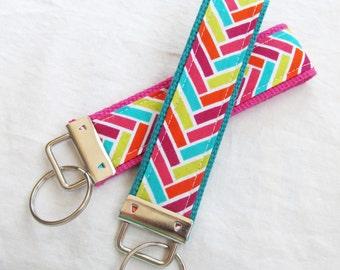 Wristlet Key Fob Key Chain -herringbone Interwoven in Fuschia, Raspberry, Aqua, Citron and Orange - Chevron Zig Zag Stripe - Fabric Keychain