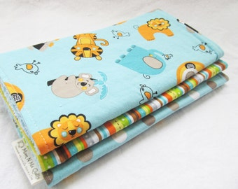 Baby Boy or Baby Girl Burp Cloth Gift Set - Safari Friends - New Baby Gift Burp Pad Set