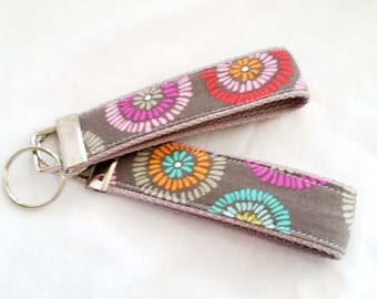 Keychain Wristlet Key fob - Color Splash on Gray