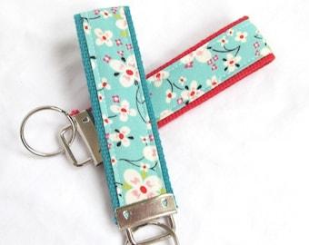 Wristlet Key Fob Key Chain - Orchard Blossom - Fabric Keychain on coordinating webbing