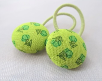 Spring Green Flowers - Ponytail holders - fabric covered button hair ties