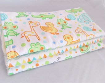 Baby Boy or Baby Girl Burp Cloth Gift Set - Hop On Over Ducks Frogs Giraffe Elephant - Neutral Burp Pad Gift Set
