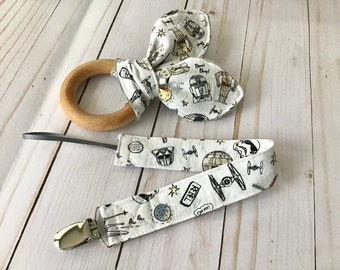 Natural Wooden Teether w Crinkles and Pacifier/Toy Clip - Rule the Galaxy - neutral baby gift