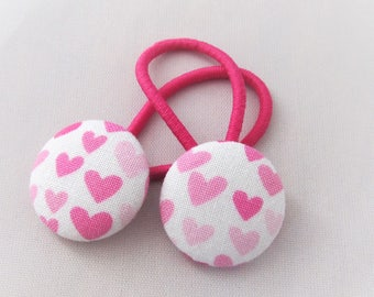 Pink Hearts - Ponytail holders - fabric covered button hair ties