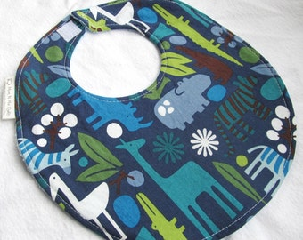 Baby Boy or Toddler Boy Bib - 2D Zoo in Navy - Boutique Bib with terry cloth backing