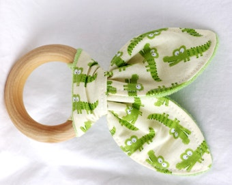Natural Wooden Teether with Crinkles - Mini Alligators with Minky Dot - New Baby Gift - Natural Teething