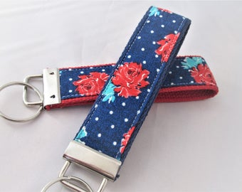 Keychain Wristlet Key fob - Roses in Red, Teal and Blue - Fabric Keychain