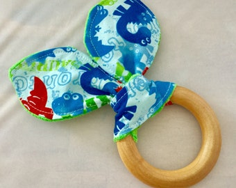 Natural Wooden Teether with Crinkles - Dinos on Blue with Minky Dot - New Baby Gift - Natural Teething