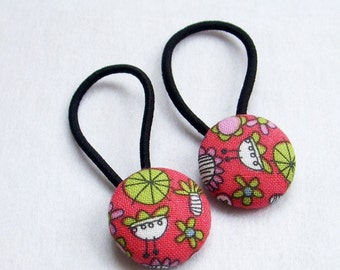 Whimsy Flowers - Ponytail holders - fabric covered button hair ties