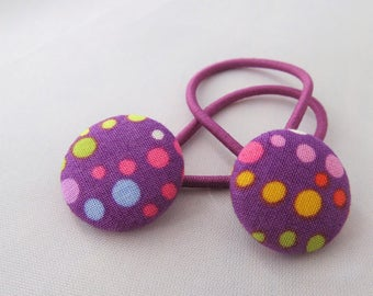 Multi-color Dots on Purple - Ponytail holders - fabric covered button hair ties