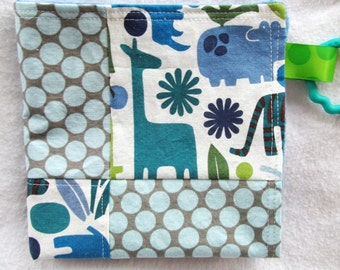 Mini Minky Snuggle Blanket - Quilted Lovey - 2D Zoo in Pool - Patchwork Blanket with Minky Dot Backing