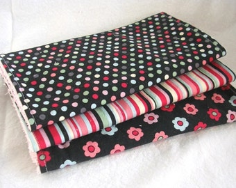 Clearance -- Boutique Burp Cloth Set - Bright and Bold Dots, Flowers and Stripes