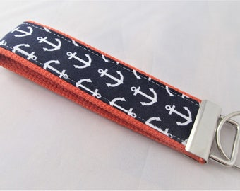 Anchors - Wristlet Key Fob Key Chain - Anchors Away in Navy and White - Fabric Keychain