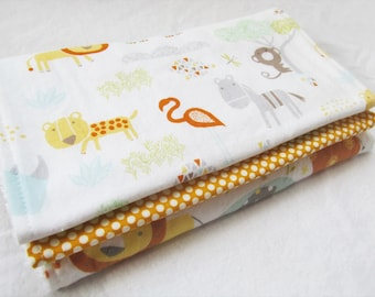 Baby Boy or Baby Girl Burp Cloth Gift Set - Jungle Babies - Neutral Burp Pad Gift Set