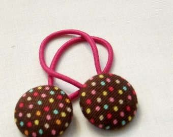 Chocolate Pindots - Ponytail holders - fabric covered button hair ties