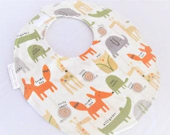 Boutique Bib Baby or Toddler Boy or Girl - Frisky Fox and Friends - Elephant Owl Alligator Turtle Giraffe- Neutral - Cotton Bib