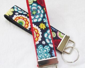 Wristlet Key Fob Key Chain - Calypso Bold Floral - Fabric Keychain on your choice of webbing