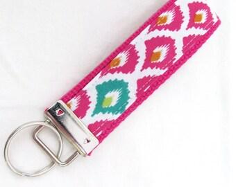 Wristlet Key Fob Key Chain in Fuschia Tribal - Keychain on Fuschia Pink Cotton Webbing