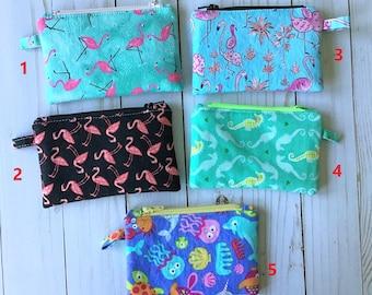 "Mini Zipper Case - Flamingos, Ocean, Seahorses  - Cotton zipper case 3.5"" x 5.5"" with 4"" zipper"