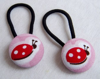 Ladybirds - Ponytail holders - fabric covered button hair ties