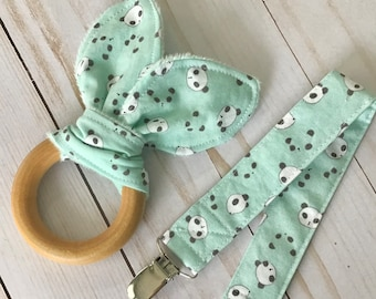 Natural Wooden Teether w Crinkles and Pacifier/Toy Clip - Pandas on Mint - neutral baby gift