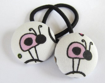 Pink Ladybugs - Ponytail holders - fabric covered button hair ties