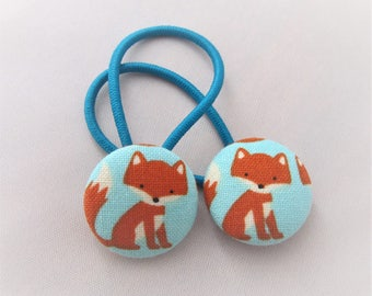 Little Fox on Aqua Blue - Ponytail holders - fabric covered button hair ties