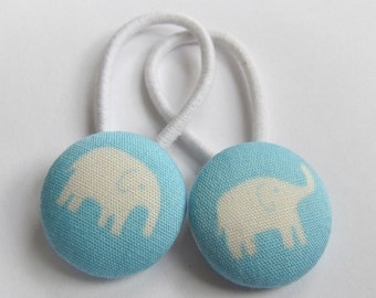 Elephants on Baby Blue - Ponytail holders - fabric covered button hair ties