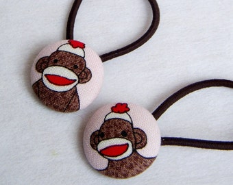 Sock Monkey on Pink - Pony Tail Holders - fabric covered buttons