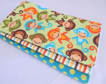 Boy Burp Cloth Set - Monkeys in Bermuda with Dot and Stripe - burp pad gift set for baby boy