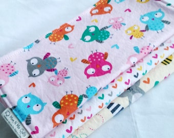 Baby Girl Burp Cloth Gift Set - Happy Campers - Owls, Hearts and Forest Friends - Burp Pad Gift Set