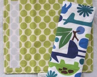 Reversible Car Seat Strap Covers - 2D Zoo and Full Moon Polka Dot in Lime