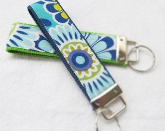 Keychain Wristlet Key fob - Harmony - Bold Blue, Aqua, Lime and Green Floral Print