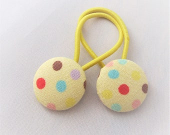 Confetti Dots on Yellow - Ponytail holders - fabric covered button hair ties