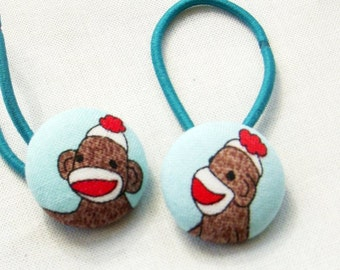 Sock Monkeys in Aqua  - Pony Tail Holders - fabric covered buttons