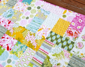 Modern Baby Girl Quilt - Nicey Jane II - Flowers and Leaves - Pink Yellow Blue Green - Handmade Heirloom Baby Girl or Toddler Quilt