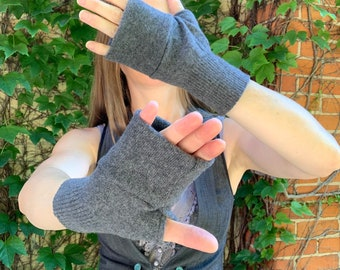 Gray Fingerless Gloves Wrist Warmers Upcycled Cashmere