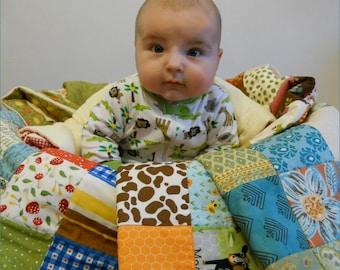 Modern Baby Quilt - Crib Blanket - Nursery Bedding - Animals - Woodland - Farm - Forest - Gnome - Baby Shower Gift - Unisex - Gender Neutral
